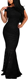 ZKESS Womens Sexy Off Shoulder Bardot Lace Evening Party Bodycon Fishtail Maxi Dress
