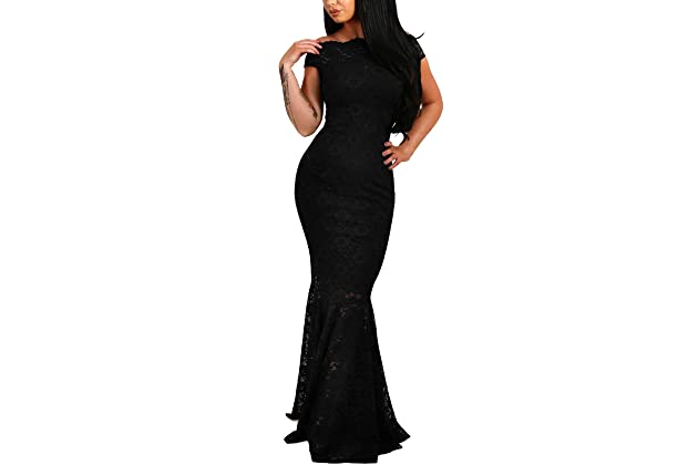 743d5cfca569b Elapsy Womens Sexy Off Shoulder Bardot Lace Evening Gown Fishtail Maxi Dress