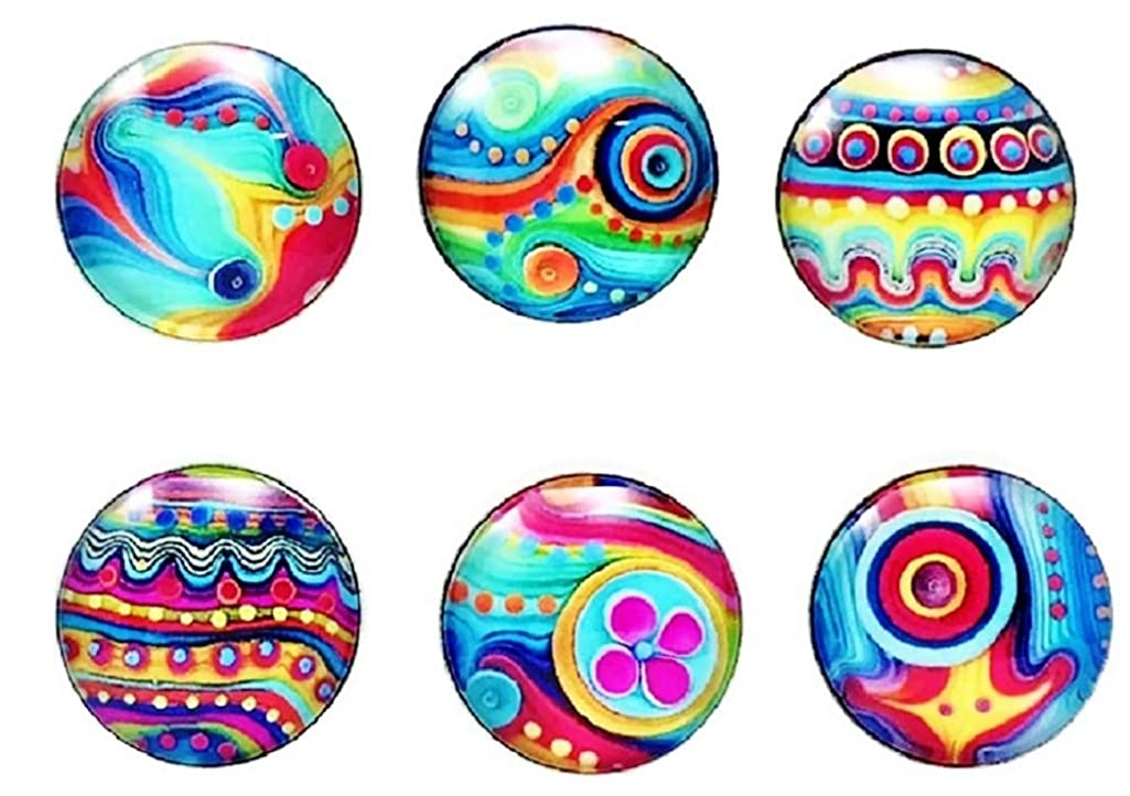 18mm Painted Multi Color Snap Charm Set Six Snaps