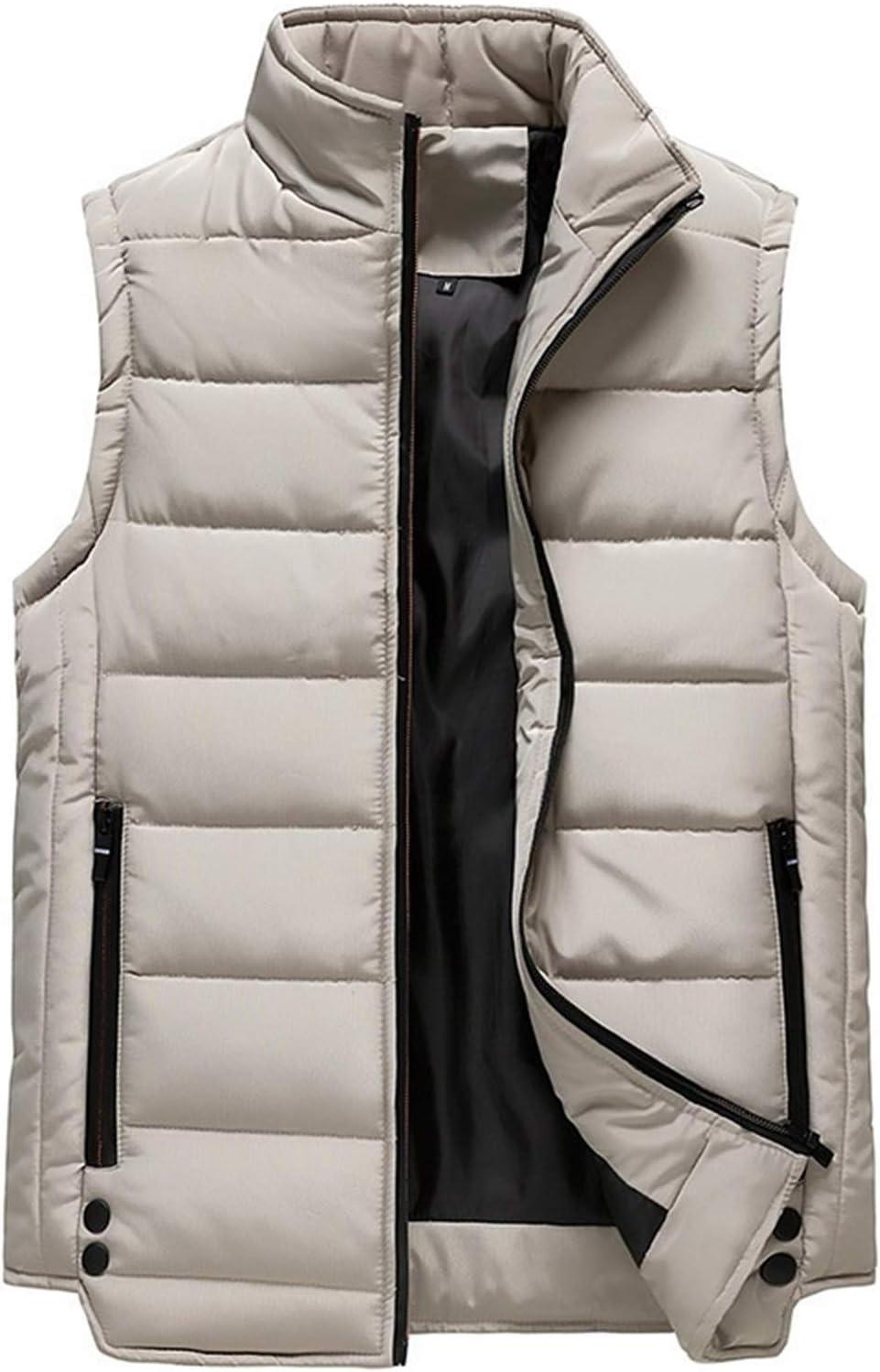 LYLY Vest Women Mens Vest Solid Autumn Warm Sleeveless Jacket Men Winter Casual Waistcoat Male Outwear Plus Size Vest Coats Vest Warm (Color : CC363 Khaki, Size : 4XL)