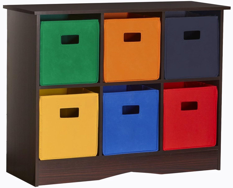 RiverRidge Kids 02-034 6 Bin Storage Cabinet, Espresso