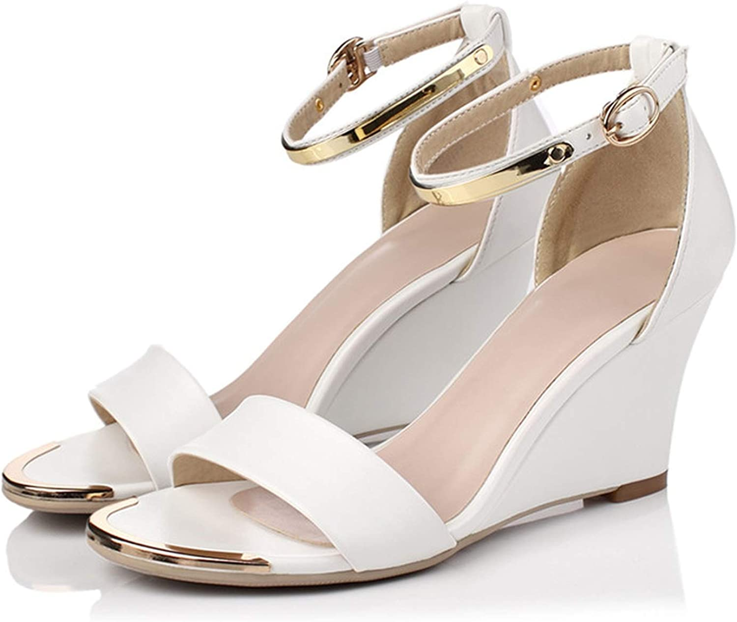 YuJi Women Sandals Buckle Wedge High Heel shoes Metal Decoration Open Toe Ankle Strap Sandals,White,3
