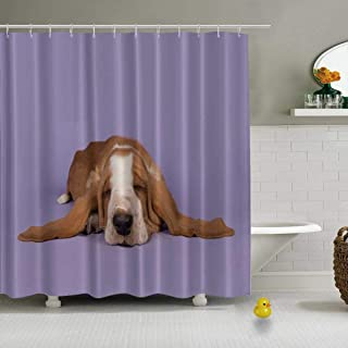 YOLIYANA Cute Sleeping tan and White Basset Hound on a Lavender Purple Background Shower Curtain Beige Shower Curtain,034539,79''Long x 71''Wide