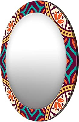 999Store Printed Colorful Abstract Pattern Round Mirror (MDF_24X24 Inch_Multi)