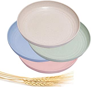 Choary 4 Pack Lightweight &Unbreakable Wheat Straw Plates 10 inch,Healthy Eco-Friendly Degradable Dishes, BPA free plates,...