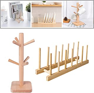 Mug Holder Tree and Dish Rack with Hot Pads Set, Wooden Cup Holder Mug Tree Holder Rack Tabletop Holder, Mug Dish Plate Bo...