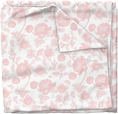 Roostery Duvet Cover, Toile Peony Pink and White Flowers Botanical Marigold Bee Print, 100% Cotton Sateen Duvet Cover, Twin