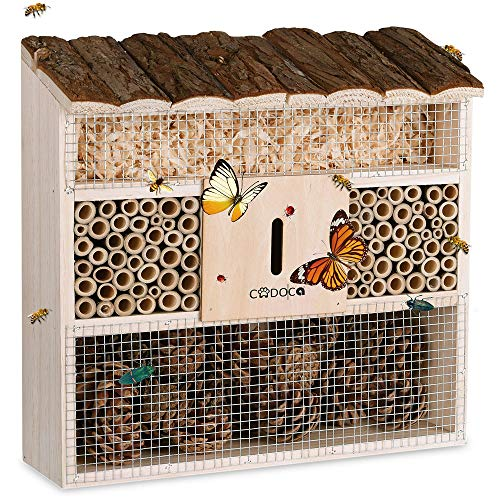 CADOCA Insektenhotel 31 x 31 cm Brutkasten Natur Holz Bienen Schmetterlinge Wespen Spinnen Insektenhaus Nistkasten Nisthilfe Vogelschutz Garten