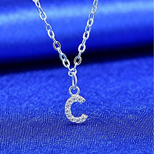 bifriend S925 Plata 26 Inicial inglés Carta Crystal Cadena Collar para Mujeres Chica Mejor Regalo (C)