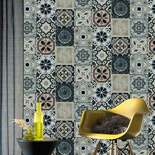 JZ·HOME 63113 Mosaik-Tapete im marokkanischen Stil, Vinyl-Fliesentapete, Küche, Wohnzimmer, Badezimmer, Schlafzimmer, Hotels, Wanddekoration, 52,8 x 10 m