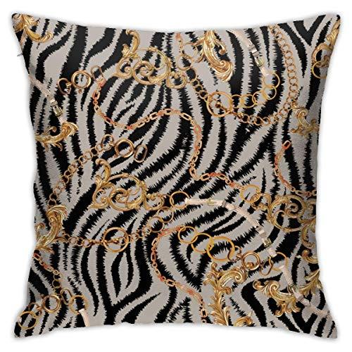 Traveler Shop Funda de Almohada con diseño Barroco de Cadena de Cebra, Funda de cojín Cuadrada, sofá para el hogar, Decorativo, 18 x 18 Pulgadas