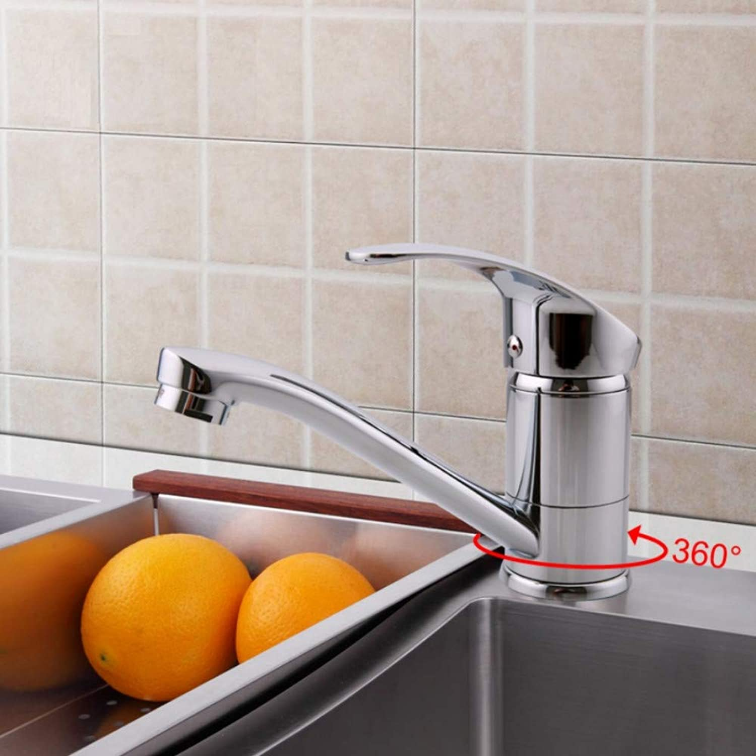 Mzdpp Modern Chrome Finish Silver Kitchen Faucet Single Handle Hot and Cold Water 360 redation
