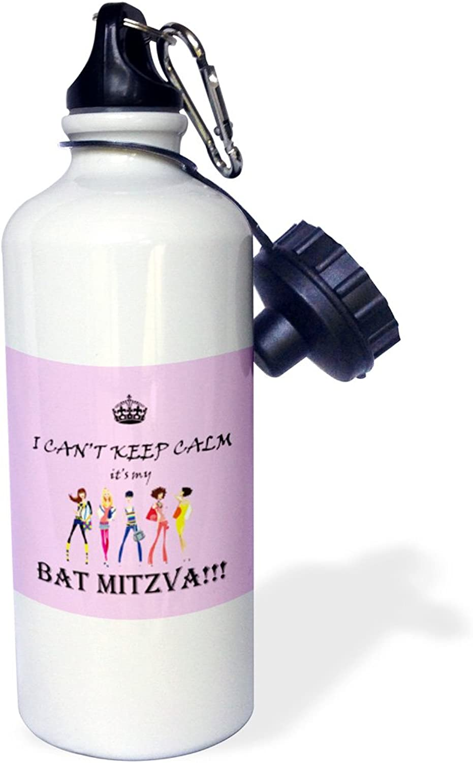3dpink wb_210357_1 I cant keep calm Im a baseball mom. turquois. saying.  Sports Water Bottle, 21oz