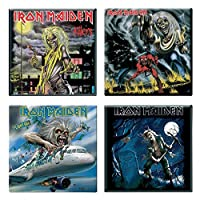 Iron Maiden 4 X 冷蔵庫用マグネット Albums Flight 666 Various Designs 新しい Set