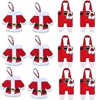 UMYMAYDO1 Navidad Decoracion Mesa 12 PCS Bolsa Cubiertos Navidad Papa Noel Muñeco de Nieve Renos Adornos Mesa Navidad Bolsillos para Cubiertos Cuchillos Tenedores Bolsa Decoración (D)