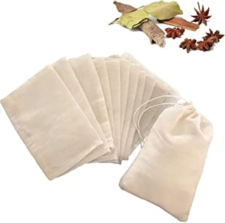 15Pack Reusable Cotton Soup Bags,Drawstring Cheesecloth Bags for Coffee Tea Herbs Muslin Brew Bags (3