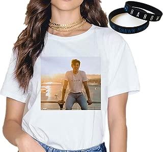 Shawn Mendes T-Shirt Bracelet Gift White Concert Tee Music Fashion Wristband Print Cartoon New Semester/F/XL