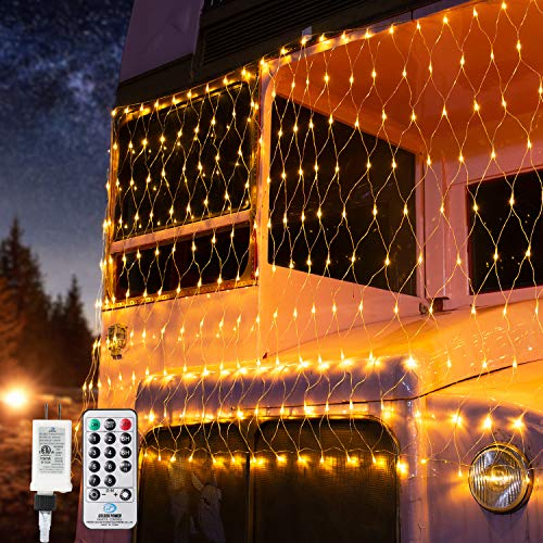 BrizLabs Christmas Bush Lights, 11.8ftx 4.9ft 360 LED Net Christmas Lights with Remote, 8 Modes Outdoor Plug in Mesh Lights, Trees-Wrape Xmas Lights for Bush Tree Garden Decor, Warm White, Clear Wire