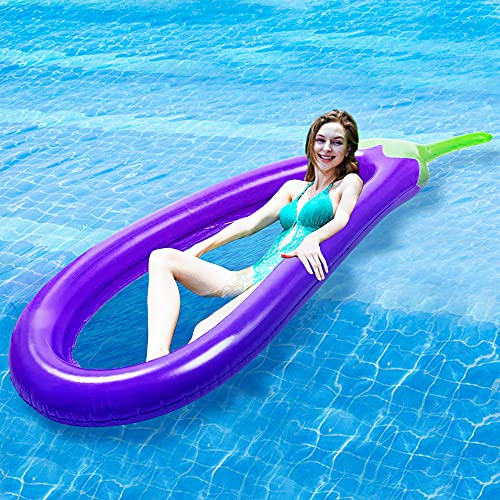 Zixar Inflatable Pool Float for Adults, Kids, Large Floating Loungers for Swimming Lake Beach, Eggplant Shape Inflatable Water Sofa, Summer...
