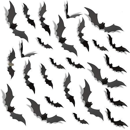 Besteek 120 Pack Halloween Decorations Bat Decals Plastic 3D Wall Bats Stickers for Home Window Decor Party Supplies (Black)