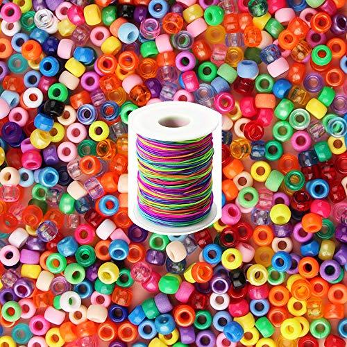 ZesNice 1200 Stück Fädelperlen mit Großem Loch mit 50 m Elastisch Schnur, Bastelperlen Bunte Perlen für Auffädeln Armbänder Schmuck Basteln DIY, Geschenk Kinder Mädchen