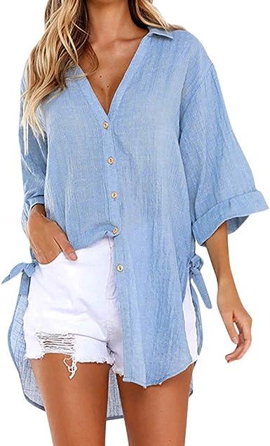 Blusa de Mujer,Verano Elegante Color sólido Manga Larga Blusa Camisa Casual Cuello en v Camiseta Tops Suelto Fiesta T-Shirt Original tee Camiseta ...