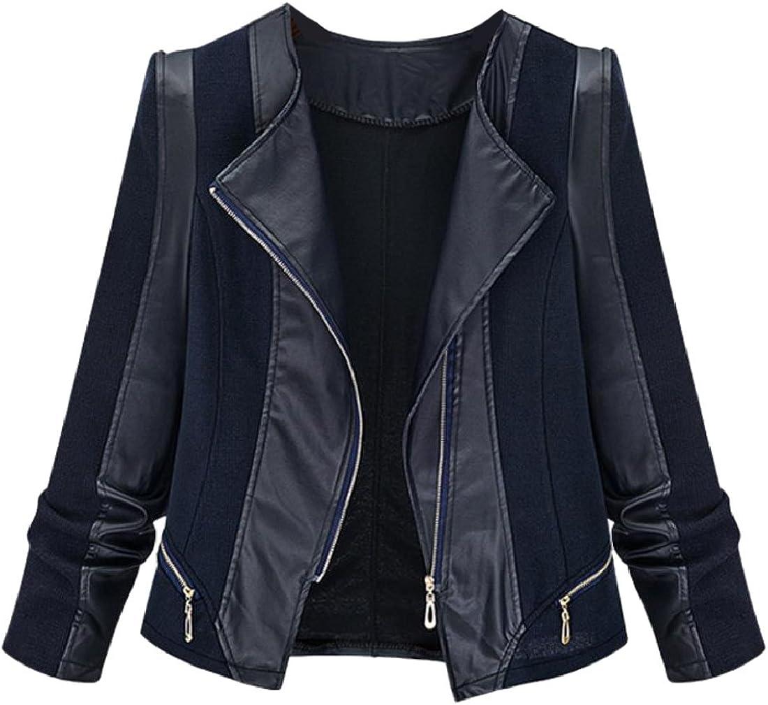 Zimaes-Women Racer Plus Size Knit Faux Leather Bomber Jackets Black 2XL