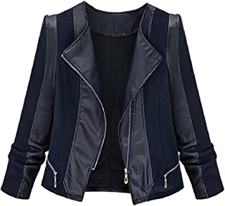 Zimaes-Women Racer Plus Size Knit Faux Leather Bomber Jackets