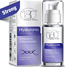 Hyaluronic Acid & Vitamin C Facial Serum By 180 Cosmetics - Concentrated &Pure Hyaluronic Acidfor Immediate Results - Most Effectiveanti Aging Serum- For Wrinkles & Fine Lines - Clinical Strength