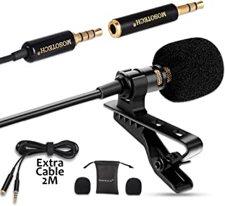 MOSOTECH Microfono Solapa Omnidireccional Lavalier Microfono de Condensador con 2m (79) Cable de Extensión Micro para Movil Grabación Entrevista/Videoconferencia/Podcast/Dicción de Voz/Phone