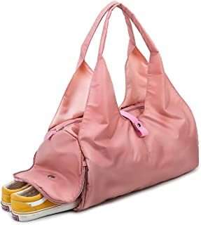 Duffle Bag, Gym Bag, GeWeDen Pink Duffel Tote Bags Multi-Pocket with Shoes Compartment for Women