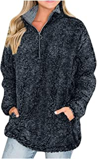 Opinionated Women's Autumn Winter Long Sleeve Zipper Sherpa Fleece Sweatshirt Pullover Jacket Coat