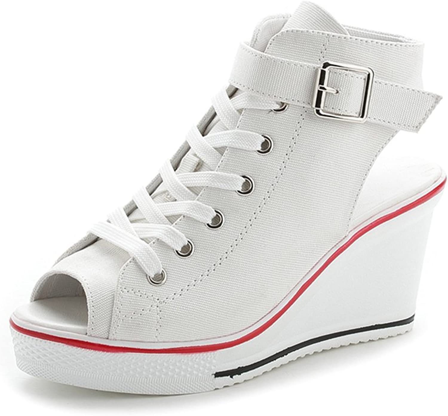 Women's Canvas shoes High-Heeled Platform Wedge Sneaker Peep Toe Sandals