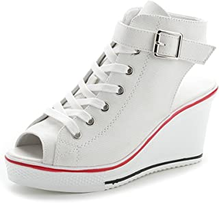 new style 22d33 e558b Sokaly Femme Compensées Eté Sandales Plateforme Fashion Imprimé Leopard  Haute Talon 8CM Chaussure de Tennis Casuel