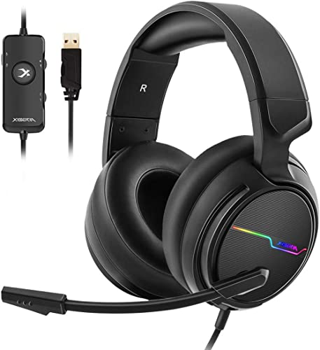 Jeecoo Xiberia USB Pro Gaming Headset for PC- 7.1 Surround Sound Headphones with Noise Cancelling Microphone- Memory ...