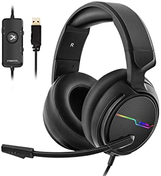 Jeecoo USB Pro Gaming Headset for PC- 7.1 Surround Sound Headphones with Noise Cancelling Mic- Memory Foam Ear Pads R...