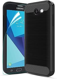 Samsung Galaxy J3 Emerge/J3 Prime/J3 Eclipse/J3 2017/J3 Luna Pro/Amp Prime 2/Express Prime 2 Case,CaseRoo Carbon Fiber Brushed Texture TPU Cover Case for Galaxy Sol 2 with HD Screen Protector(Black)
