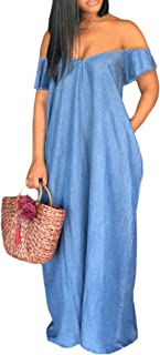 Kearia Women Denim Dress Off The Shoulder V Neck Short Sleeve Loose Summer Jeans Long Maxi Dress
