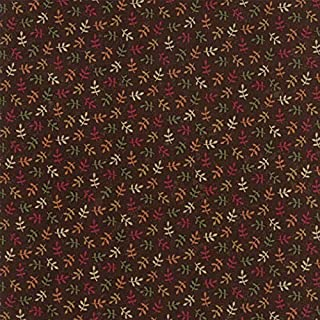 Kansas Troubles, Nature's Glory, Colorful, Small Leaves Allover, Rich Brown Background, Moda, 9586-18, by The Yard