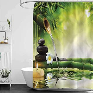 homecoco Shower Curtains with Birds on Them Spa,Meditation Stones Bamboo W36 x L72,Shower Curtain for Shower stall
