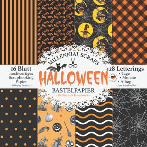 Halloween Bastelpapier – für Kinder & Erwachsene –: Scrapbooking Papier & Zubehör I Motivpapier zum Ausschneiden I Mit Letterings I Junk Journal Dekor I Karten Basteln DIY Geschenk