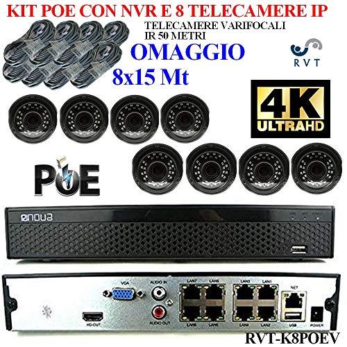 Kit de videovigilancia IP POE NVR, 1 canales de los cuales 8 IP POE y 8 IP NormaliFull HD con 8 cámaras varifocales NVR 4 K de alta calidad IP 50 metros