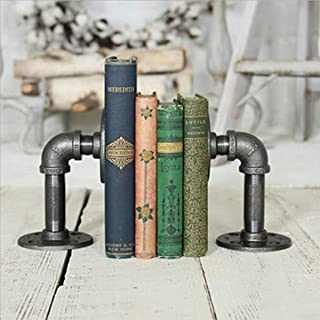 FURVOKIA Industrial Pipe Bookends Pipe Shelf Brackets,Rustic Farm House Industrial Iron Pipe Decor Shelves,Bookshelves,Floating Brackets,Office Desk Bookmark(2pcs)