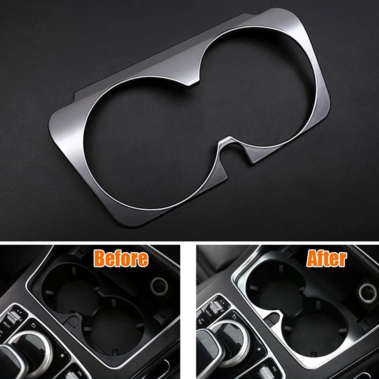 オアシスバーストの量Jicorzo - Console Water Cup Holder Cover Trim Frame Interior Chrome ABS Car-styling Sticker For Mercedes Benz GLC 2016 Car Accessories