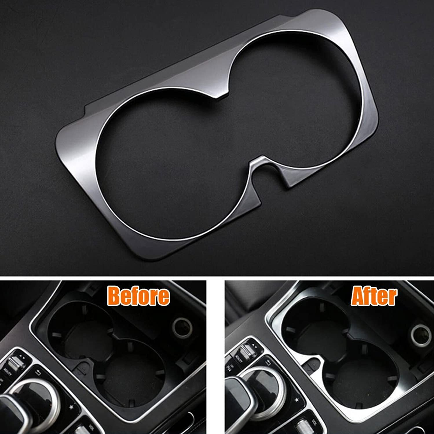 服を片付ける前売却下するJicorzo - Console Water Cup Holder Cover Trim Frame Interior Chrome ABS Car-styling Sticker For Mercedes Benz GLC 2016 Car Accessories
