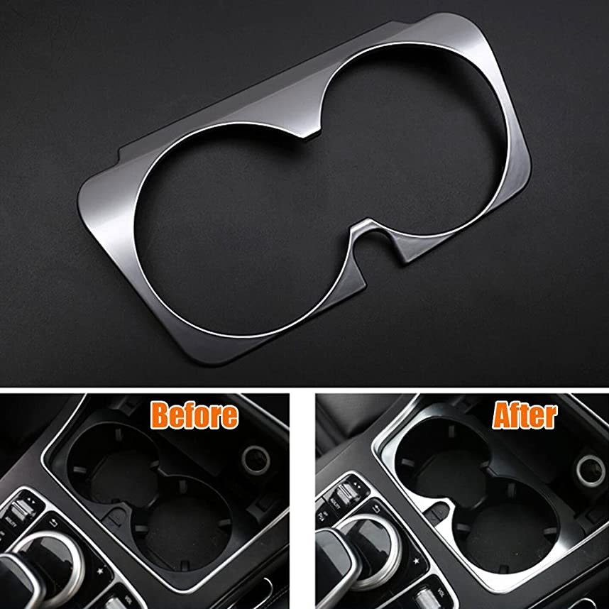ミシン首相不信Jicorzo - Console Water Cup Holder Cover Trim Frame Interior Chrome ABS Car-styling Sticker For Mercedes Benz GLC 2016 Car Accessories
