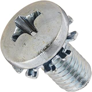 """Steel Machine Screw, Zinc Plated Finish, Pan Head, Phillips Drive, Meets ASME B18.13, External-Tooth Lock Washer, 7/16"""" Le..."""