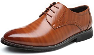 shangruiqi Men's Formal Business Shoes Classic Matte PU Leather Upper Lace Up Breathable Lined Oxfords Abrasion Resistant ( Color : Orange , Size : 38 EU )