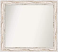 Amanti Art Framed Alexandria White Wash Solid Wood Wall Mirrors, Glass Size 27 x 31