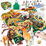 41Pcs Animals Figurines Toys with Activity Play Mat, Educational Painting Arts & Crafts Kit, Realistic Jungle Wild Zoo Animals Figures Playset with Elephant, Elk, Lion, Bear, Tiger etc for Kids